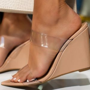 NEW🔥 Nude Open Toe Clear Band Wedge Heel Sandals